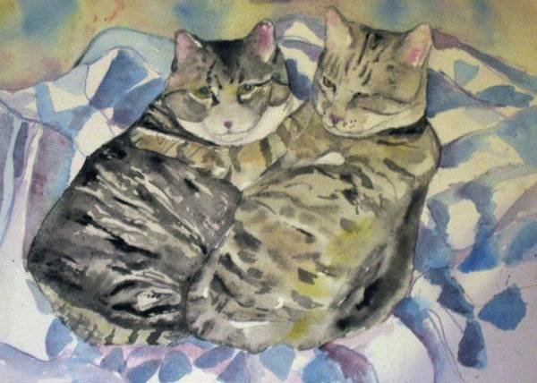 Two Cats Poster featuring the painting Theo And Franklin by Anne McMath