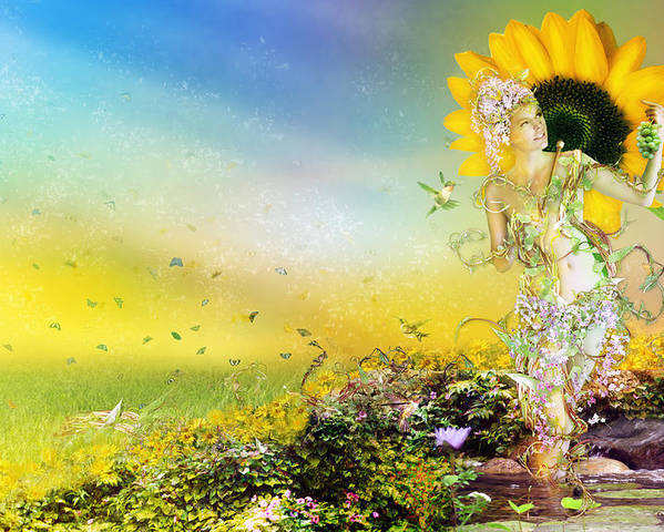 Sunflower Poster featuring the digital art They Call Me Summer by Mary Hood