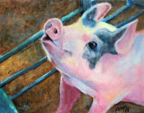 Animals Poster featuring the painting This Little Piggy by Stephanie Allison