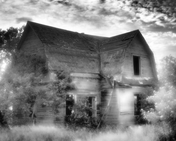 Black Poster featuring the photograph This Old House by Christina Young