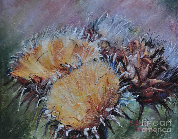 Pastel Poster featuring the painting Thistledown by Debbie Harding