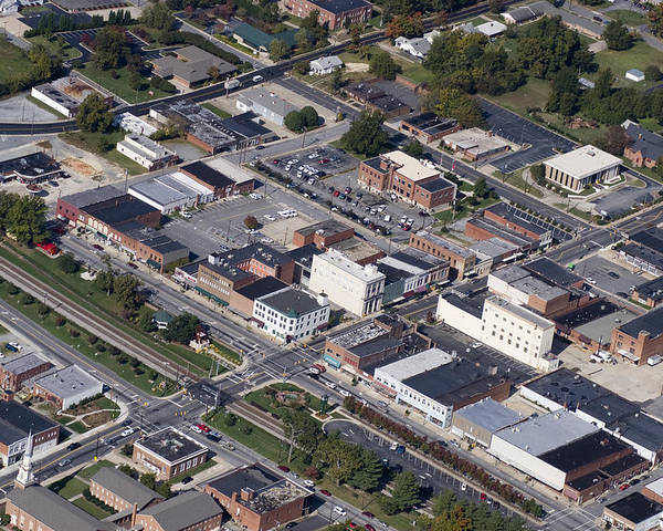 Thomasville Poster featuring the photograph Thomasville Nc Aerial by Robert Ponzoni