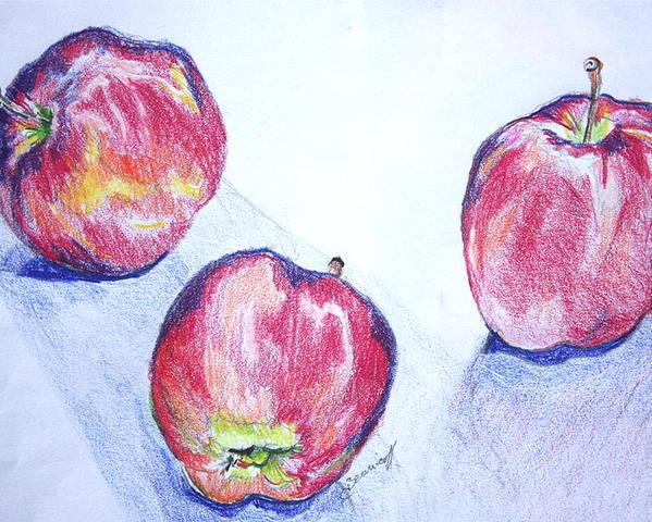 Apples Poster featuring the drawing Three Apples by Jan Bennicoff