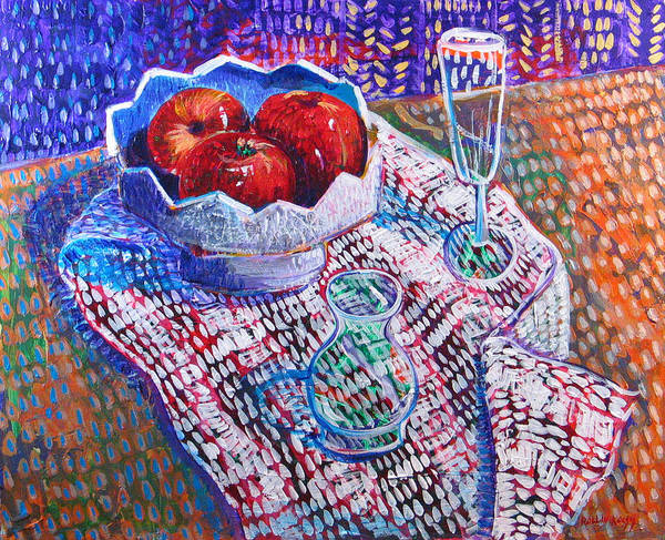 Still Life Poster featuring the painting Three Apples by Rollin Kocsis