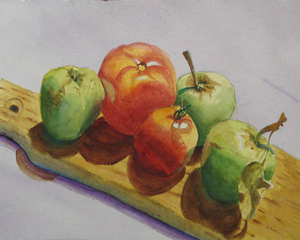 Fruit Poster featuring the painting Three Apples Two Tomatoes by Libby Cagle