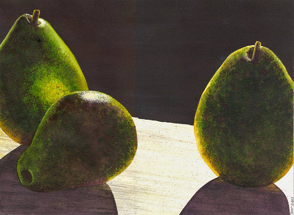 Pears Poster featuring the painting Three Backlit by Catherine G McElroy