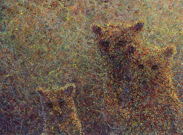 Bears Poster featuring the painting Three Bears by James W Johnson