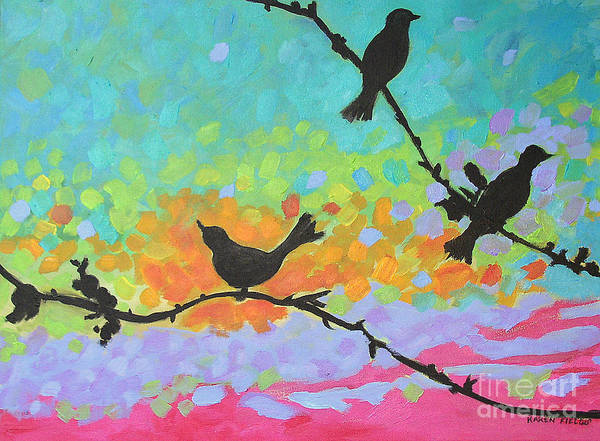 Urban Poster featuring the painting Three Birds by Karen Fields