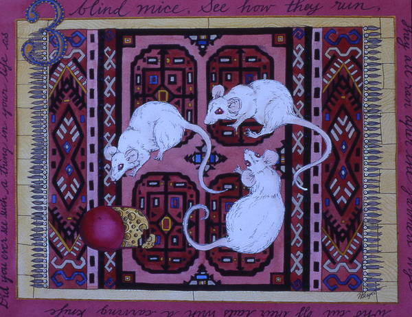 Three Blind Mice Poster featuring the painting Three Blind Mice by Victoria Heryet