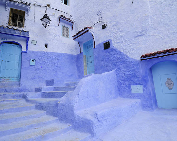 Morocco Poster featuring the photograph Three Blue Doors In Chefchaouen by Liz Pinchen
