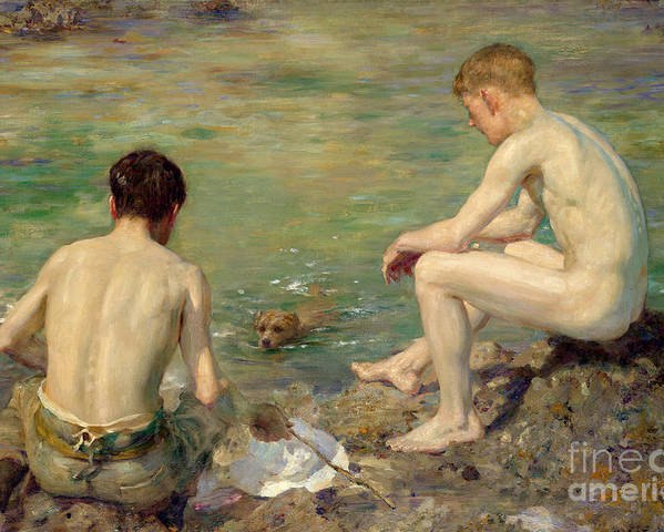 Bal13741 Poster featuring the painting Three Companions by Henry Scott Tuke
