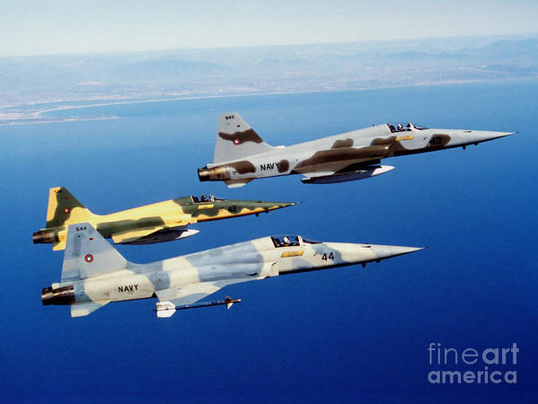 Military Poster featuring the photograph Three F-5e Tiger II Fighter Aircraft by Dave Baranek