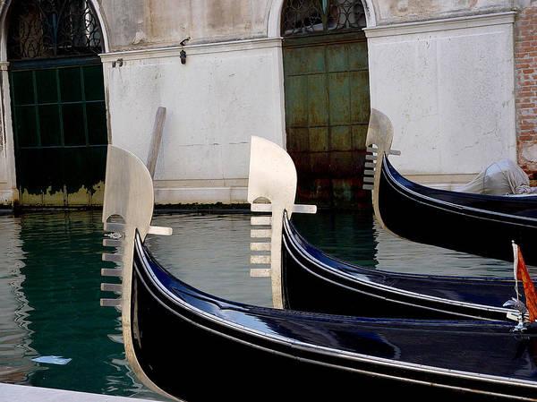 Three Gondolas Poster featuring the photograph Three Gondolas by Nancy Bradley
