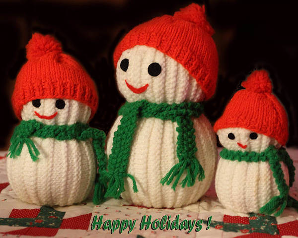 Holidays Poster featuring the photograph Three Knit Christmas Snowmen by Linda Phelps
