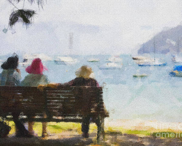 Impressionism Impressionist Water Boats Three Ladies Seat Poster featuring the photograph Three ladies by Sheila Smart Fine Art Photography