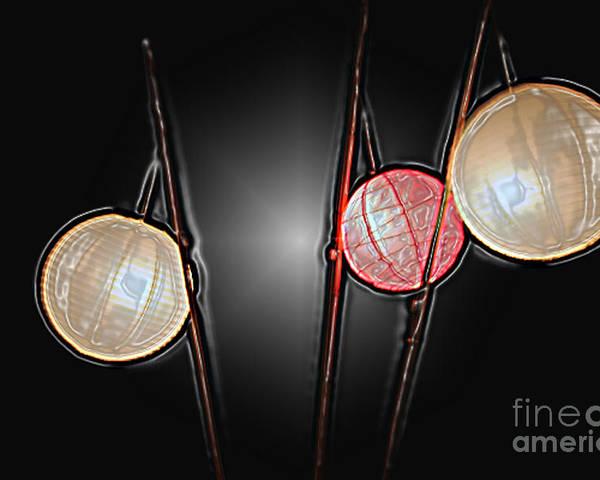 Lanterns Poster featuring the photograph Three Lanterns by PJ Boylan