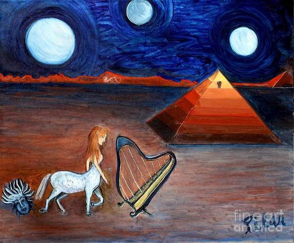 Pyramid Poster featuring the painting Three Moons by Pilar Martinez-Byrne