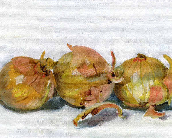 Food Poster featuring the painting Three Onions by Sarah Lynch