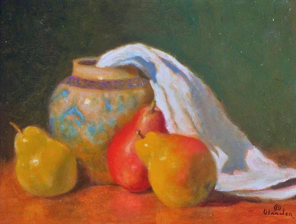 Still Life Impression Poster featuring the painting Three Pears With Persian Vase by David Olander