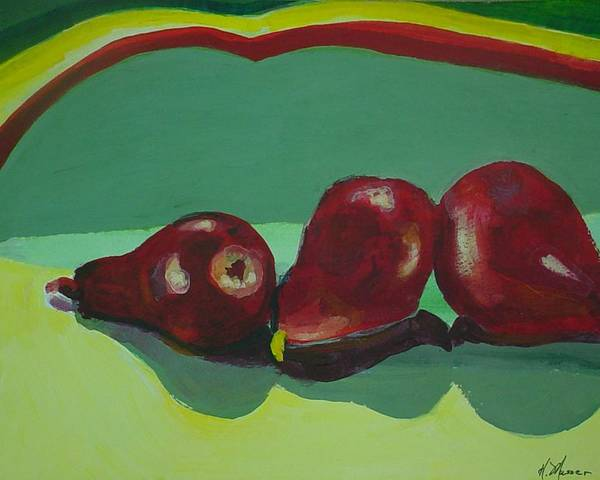 Red Pears Poster featuring the painting Three Red Pears by Helen Musser