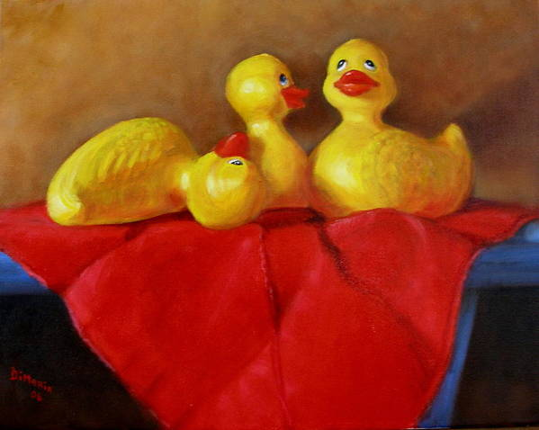 Poster featuring the painting Three Rubber Ducks 3 by Donelli DiMaria