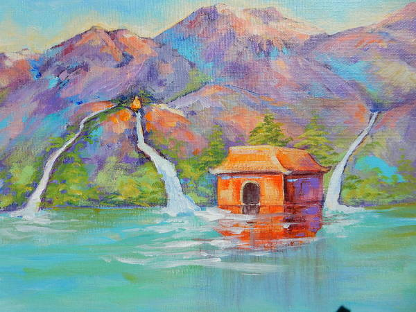 Three Scared Waters With Buddha Poster featuring the painting Three Sacred Waters by Caroline Patrick