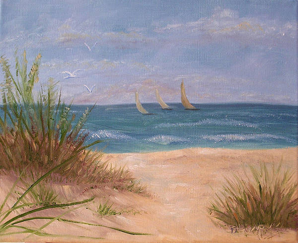 Beach Poster featuring the painting Three Sails by Barbara Harper