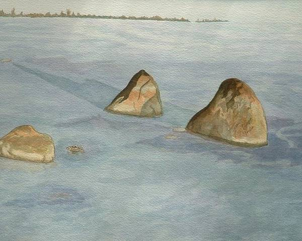 Lakescape Poster featuring the painting Three Sisters by Lynn ACourt