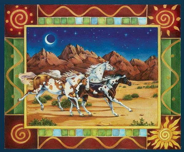 Horses Poster featuring the painting Three To Midnight by Eden Alvernaz