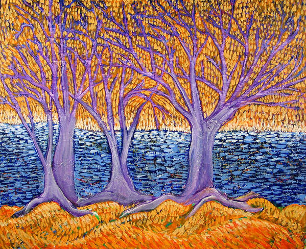 Landscape Poster featuring the painting Three Trees by Rollin Kocsis