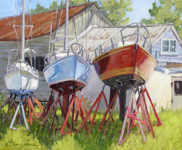 Sail Boats Poster featuring the painting Three Up by L Diane Johnson