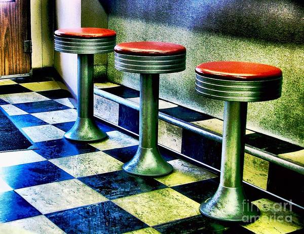 Retro Photography Poster featuring the photograph Three White Steamer Stools by Julie Dant