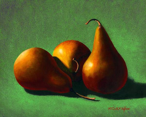 Still Life Poster featuring the painting Three Yellow Pears by Frank Wilson