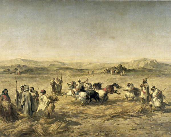 Threshing Poster featuring the painting Threshing Wheat In Algeria by Adolphe Pierre Leleux