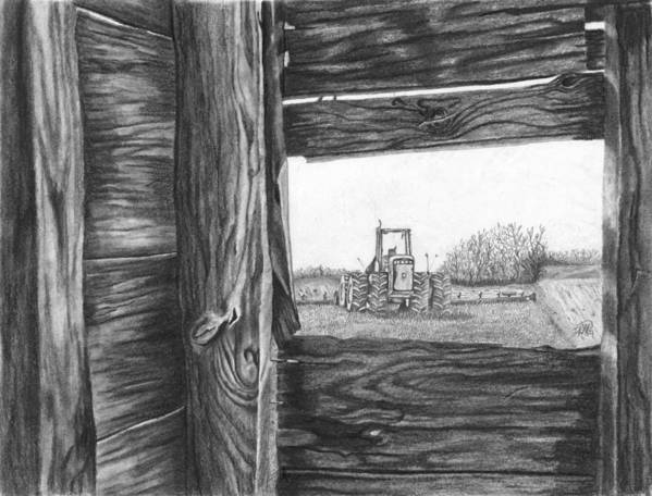 Barn Poster featuring the drawing Through The Barn by Dean Herbert
