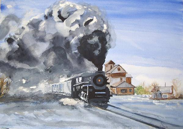 Train Poster featuring the painting Through The Snow by Carole Robins