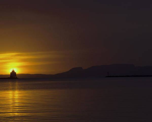 Sleeping Giant Silhouette Sunrise Light House Main Summer Waterfront Thunder Bay Ontario Canada Water Sun Waver Seagull Ducks Orange Red Black White Yellow Sunrays Hope Landscape Photography Clouds Warm Summers Day October 2015 Poster featuring the photograph Thunder Bay Sunrise by Chris Artist