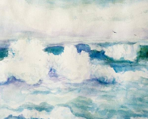 Pacific Ocean Poster featuring the painting Thundering Breakers by Ruth Mabee