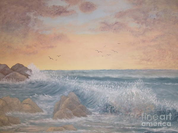 Ocean Poster featuring the painting Thundering Sea by Patti Lennox