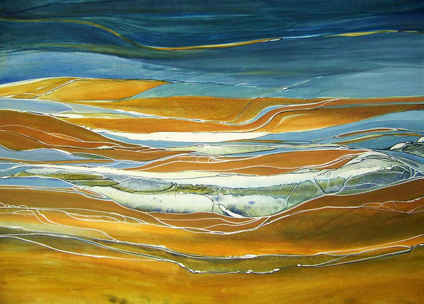 Contemporary Painting;earth Tones;linear Painting;rocks;water; Poster featuring the painting Tidal Flow by Lois Mountz