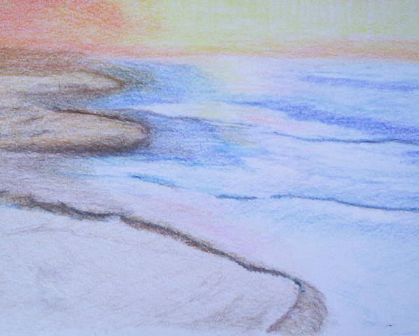 Landscape Poster featuring the drawing Tide is Out by Suzanne Udell Levinger