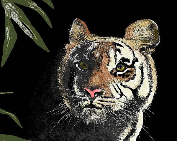 Tiger Poster featuring the digital art Tiger by Carole Boyd