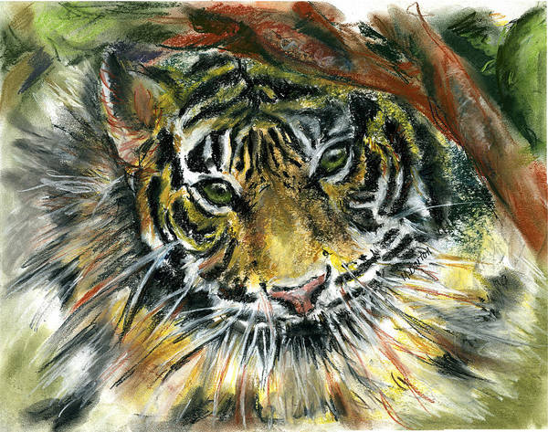Tiger Poster featuring the painting Tiger by Marilyn Barton