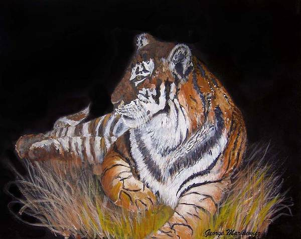 Tiger Poster featuring the print Tiger Tiger Burning Bright by George Markiewicz