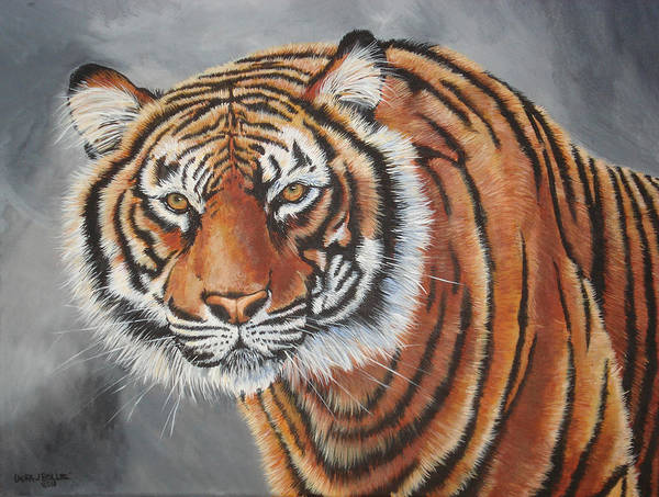 Wildlife Art Poster featuring the painting Tiger Watching by Laura Bolle