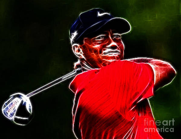 Eldrick Tont tiger Woods Poster featuring the photograph Tiger Woods by Paul Ward