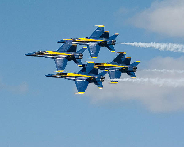 Blue Poster featuring the photograph Tight Formation by Gary Prill