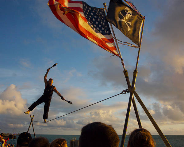Balance Poster featuring the photograph Tight Rope Walker In Key West by Carl Purcell