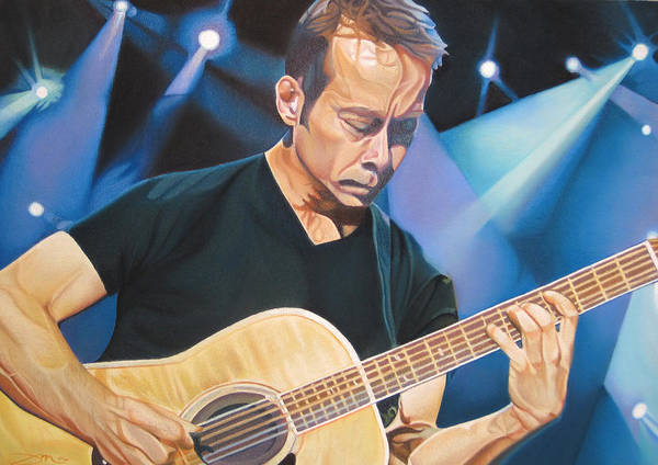 Tim Reynolds Poster featuring the drawing Tim Reynolds And Lights by Joshua Morton