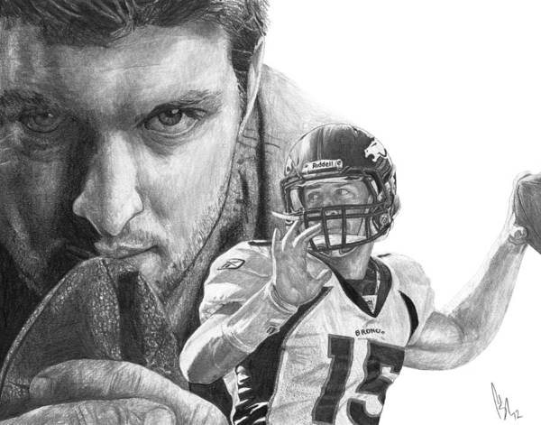 Tim Tebow Poster featuring the drawing Tim Tebow by Bobby Shaw
